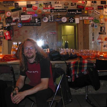 Drummer Lothar Weise Backstage in Leipzig