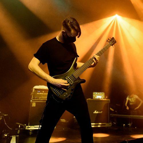 Björn Hechler bearbeitet unermüdlich seinen Bass